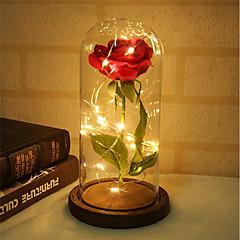 olcso Dekorativna rasvjeta-1db szépség és a vadállat rózsa emelkedett, és az ólomfénybe esett szirmok üveg kupolában, egy fából készült alap ajándékra - ünnep születésnapi esküvő