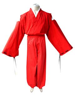 """Inspirert av InuYasha Inu Yasha Anime  """"Cosplay-kostymer"""" Cosplay Klær Japansk Kimono Ensfarget Langermet Topp Kimono Frakke Hakama bukser"""