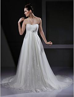 billiga Imperiumbrudklänningar-A-linje Hjärtformad urringning Hovsläp Tyll Bröllopsklänningar tillverkade med Applikationsbroderi / Draperad / Blomma av LAN TING BRIDE®