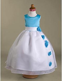 tanie Ubiór ślubny dla dzieci-Balowa Sięgająca podłoża Sukienka dla dziewczynki z kwiatami - Organza Satyna Bez rękawów Wycięcie z Przewiązka / Wstążka Kwiat przez LAN
