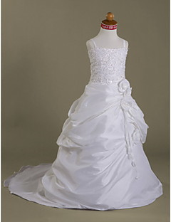 A-Line Court Train Flower Girl Dress - Organza Satin Sleeveless Spaghetti Straps with Appliques by LAN TING BRIDE®