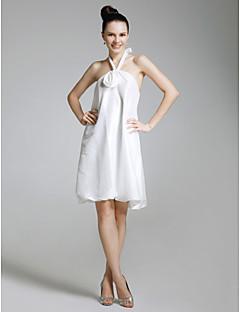 billiga Cocktailklänningar-Åtsmitande Halterneck Knälång Taft Gradering Cocktailfest Återföreningsfest Klänning med Blomma av TS Couture®