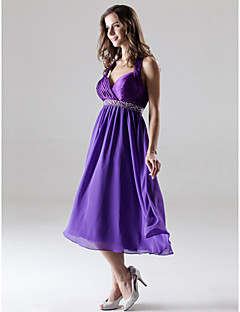 cheap Maternity Bridesmaid Dresses-A-Line Princess Halter Sweetheart Knee Length Chiffon Charmeuse Bridesmaid Dress by LAN TING BRIDE®