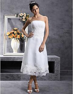 billiga Brudklänningar-A-linje Axelbandslös Telång Organza Bröllopsklänning med Spets av LAN TING BRIDE®