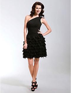 billiga Den lilla svarta-A-linje / Prinsessa Enaxlad Kort / mini Chiffong Den lilla svarta Cocktailfest / Bal Klänning med Sidodraperad av TS Couture®
