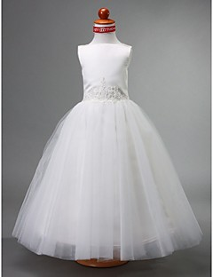 cheap Flower Girl Dresses-A-Line Ball Gown Princess Floor Length Flower Girl Dress - Satin Tulle Sleeveless Bateau Neck with Beading Draping by LAN TING BRIDE®
