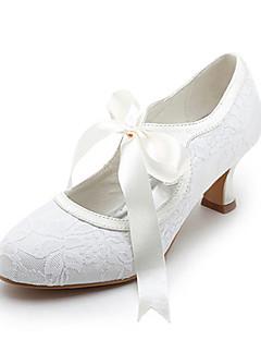 hesapli Düğün & Özel Günler İndirimleri-Kadın's Ayakkabı Saten Streç Saten Bahar Yaz Geniş Bantlı Makara Topuk Düğün için Kurdele Bağcık Beyaz Kristal
