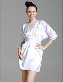 baratos Vestidos de Formatura-Tubinho Decote V Curto / Mini Cetim Elástico Estilo Celebridade Coquetel Vestido com Pregueado de TS Couture® / Buffante