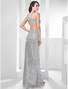 cheap Celebrity Dresses-Sheath / Column One Shoulder Floor Length Stretch Satin Sequined Formal Evening / Military Ball Dress with Sequin Side Draping by TS