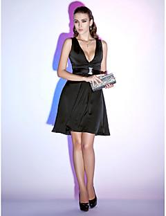 billiga Den lilla svarta-A-linje Dunkel halsringning Kort / mini Chiffong Cocktailfest / Helgdag Klänning med Bälte / band av TS Couture® / Den lilla svarta