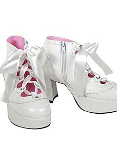 billiga Lolitamode-Skor Punk Lolita Punk Lolita Lolita Högklackat Skor Enfärgad 7.5 CM Vit Svart Till PU-läder/Polyuretan Läder Polyuretan Läder