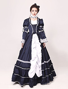 cheap Adults Costumes-Victorian Rococo Costume Women's Dress Masquerade Party Costume Ink Blue Vintage Cosplay Jazz Wool Long Sleeves Long Length