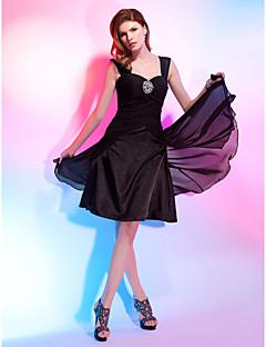 billiga Den lilla svarta-A-linje / Prinsessa Hjärtformad urringning / remmar Knälång Chiffong Cocktailfest Klänning med Bård / Draperad / Korsvis av TS Couture® / Den lilla svarta
