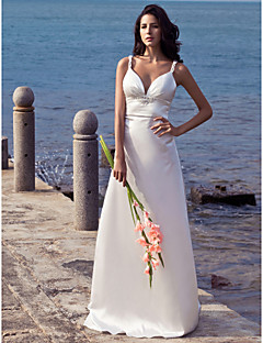 Sheath / Column Straps Sweep / Brush Train Stretch Satin Wedding Dress with Beading by LAN TING BRIDE®