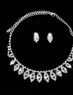 Takı Seti Kadın's Yıldönümü / Düğün / Nişan / Doğumgünü / Hediye / Parti / Günlük Mücevher Setleri alaşım Yapay Elmas Kolyeler / Kolczyki