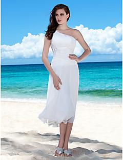billiga Åtsmitande brudklänningar-Åtsmitande Enaxlad Telång Chiffong Bröllopsklänningar tillverkade med Rosett / Draperad / Bälte / band av LAN TING BRIDE® / Liten vit klänning