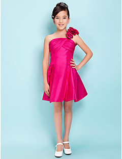 A-Line Princess One Shoulder Knee Length Taffeta Junior Bridesmaid Dress with Flower(s) Criss Cross by LAN TING BRIDE®