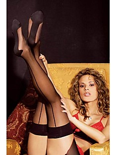 Women's Hosiery Thin Stockings,Nylon Patchwork Sexy Black/Red