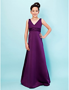 A-Line Princess V-neck Floor Length Satin Junior Bridesmaid Dress with Sash / Ribbon Ruching by LAN TING BRIDE®