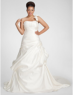 cheap Wedding Dresses-Plus Size A-Line One Shoulder Chapel Train Satin Made-To-Measure Wedding Dresses with Draping / Pick Up Skirt / Flower by LAN TING BRIDE®
