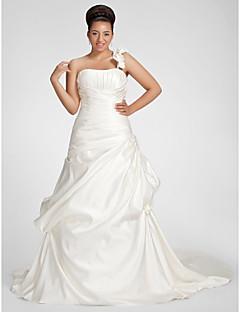 billiga Plusstorlek brudklänningar-A-linje Enaxlad Kapellsläp Satäng Bröllopsklänningar tillverkade med Draperad / Pickup-kjol / Blomma av LAN TING BRIDE®