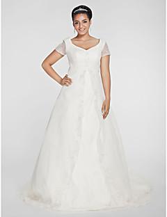 A-linje Prinsesse V-hals Kapellslep Organza Bryllupskjole med Perlearbeid Appliqué av LAN TING BRIDE®