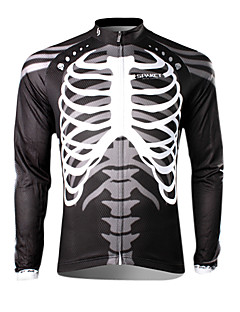 SPAKCT Cycling Jersey Men's Long Sleeves Bike Jersey Top Thermal / Warm Quick Dry Ultraviolet Resistant Breathable 100% Polyester Skulls