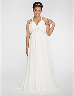 billige Brudekjoler UK-kappe / kolonne v-hals feie / børste tog chiffong pluss størrelsen brudekjole med beading av lan ting bride®