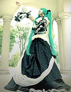 baratos Fantasias de Vídeo Game-Inspirado por Vocaloid Hatsune Miku Vídeo Jogo Fantasias de Cosplay Ternos de Cosplay / Vestidos Retalhos Manga Longa Vestido / Colar / Acessórios de Cintura Trajes da Noite das Bruxas / Renda