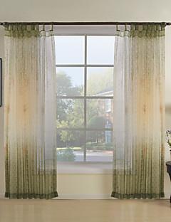 (to paneler) grønn botaniske moderne ren gardin