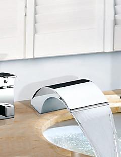 billige Romersk- bad-Moderne Romersk kar Foss Utbredt Keramisk Ventil Tre Huller To Håndtak tre hull Krom, Badekarskran