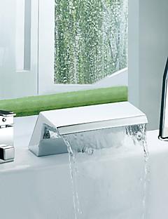 billige Romersk- bad-Moderne Romersk kar Foss Utbredt with  Keramisk Ventil Tre Huller To Håndtak tre hull for  Krom , Badekarskran