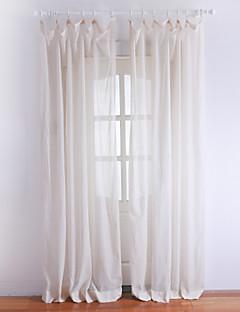 baratos Cortinas Transparentes-um par clássico cortina alucinante sólido cor de marfim
