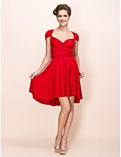 billiga Klänningar till speciella tillfällen-Åtsmitande V-hals Knälång Jersey Konvertibel klänning Cocktailfest Klänning med Bälte / band / Plisserat av TS Couture®
