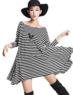 (벨트 포함) 줄무늬에게 느슨한 스윙 드레스를 키스