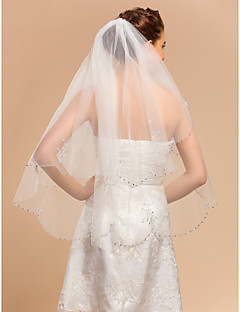 Wedding Veil Two-tier Fingertip Veils Lace Applique Edge 35.43 in (90cm) Tulle IvoryA-line, Ball Gown, Princess, Sheath/ Column, Trumpet/