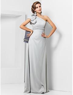 Bainha / coluna um ombro comprimento do piso chiffon vestido de noite com flor por ts couture®