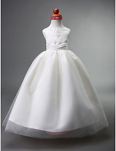 cheap Flower Girl Dresses-Ball Gown Floor Length Flower Girl Dress - Satin Tulle Sleeveless Straps with Beading Appliques Draping Ruched by LAN TING BRIDE®