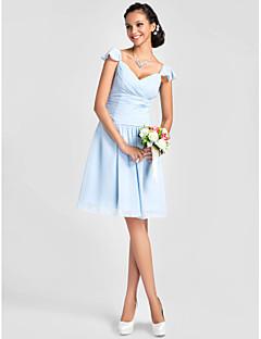 tanie Królewski błękit-Krój A / Księżniczka W serek Do kolan Szyfon Sukienka dla druhny z Koraliki / Fałdki / Krzyżowe przez LAN TING BRIDE®