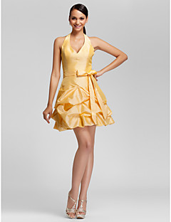Χαμηλού Κόστους Ουδέτερα Χρώματα-Γραμμή Α / Βραδινή τουαλέτα Λαιμόκοψη V / Δένει στο Λαιμό Κοντό / Μίνι Ταφτάς Φόρεμα Παρανύμφων με Χάντρες / Φούστα με πιασίματα / Βολάν με LAN TING BRIDE®