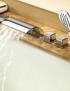 billige Romersk- bad-Moderne Romersk kar Foss Utbredt Hånddusj Inkludert Keramisk Ventil Fire Huller To Håndtak fem hull Krom, Badekarskran