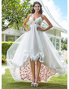 tanie Pierwszy taniec-Krój A Księżniczka Cienkie ramiączka Do kolan Asymetryczna Organza Niestandardowe suknie ślubne z Haft nakładany Fałdki boczne przez LAN