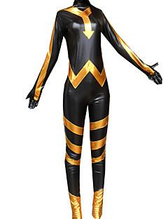 billige Zentai-Skinnende Zentai Drakter Ninja Zentai Cosplay-kostymer Trykt mønster Trikot / Heldraktskostymer Zentai Skinnende Metallisk Unisex Jul Halloween / Høy Elastisitet