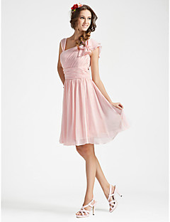 cheap Romance Blush-A-Line Princess V Neck Knee Length Georgette Bridesmaid Dress with Draping Ruched Ruffles Side Draping by LAN TING BRIDE®