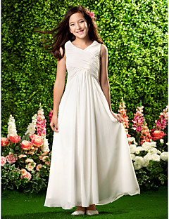 cheap Junior Bridesmaid Dresses-Sheath / Column V Neck Ankle Length Chiffon Junior Bridesmaid Dress with Draping Criss Cross by LAN TING BRIDE®
