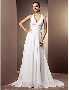billiga Åtsmitande brudklänningar-V-hals Hovsläp Chiffong Bröllopsklänningar tillverkade med Bård / Draperad / Bälte / band av LAN TING BRIDE®