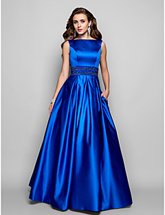 A-Line Ball Gown Bateau Neck Floor Length Satin Prom Formal Evening Military Ball Dress with Beading Draping by TS Couture®