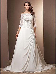 billiga A-linjeformade brudklänningar-A-linje Off shoulder Hovsläp Chiffong / Spets med pärlor Bröllopsklänningar tillverkade med Pärla / Applikationsbroderi / Veckad av LAN