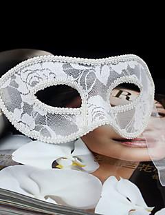 billige Halloweenkostymer-Karneval Maske Herre Dame Halloween Karneval Nytt År Festival / høytid Halloween-kostymer Hvit Svart Rød Ensfarget Blonder