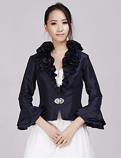 cheap -Taffeta Wedding Party Evening Casual Office & Career Wedding  Wraps With Beading Ruffles Coats / Jackets